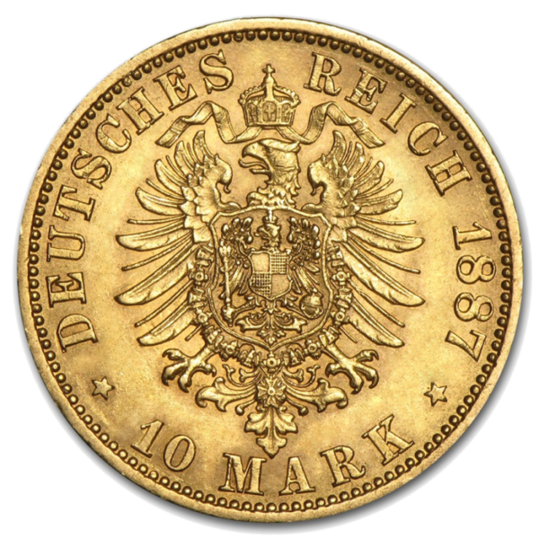 10 Mark Gold | Emperor Wilhelm I | Prussia | 1874-1888(Back)