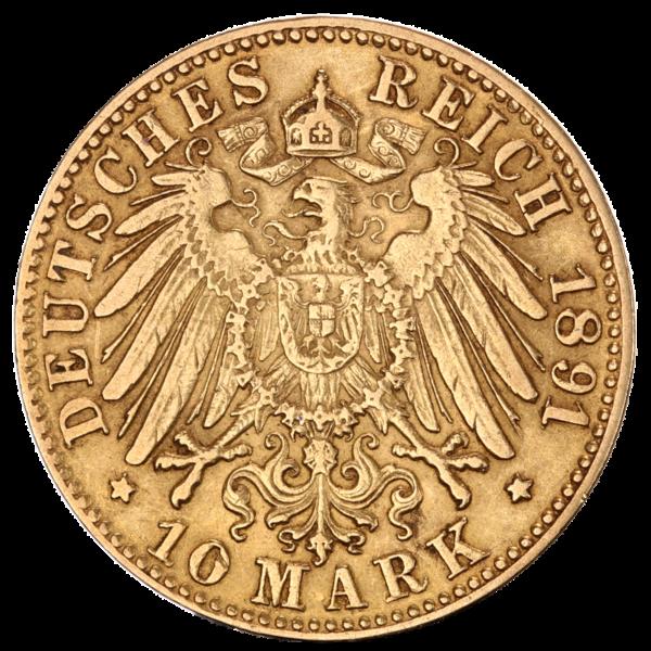 10 Mark Grand Duke Friedrich I Baden | Gold | 1872-1901(Back)