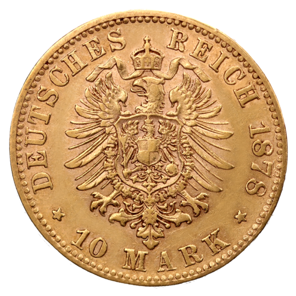 10 Mark King Karl Wurttemberg | Gold | 1864-1891(Back)