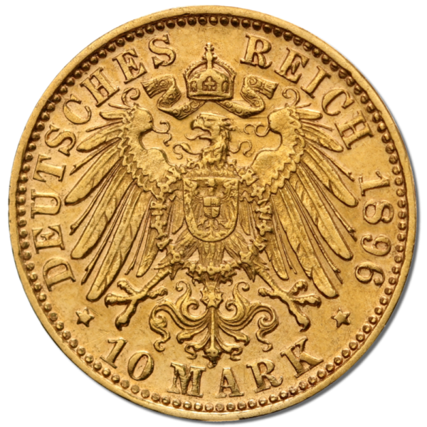 10 Mark, Otto, King of Bavaria, Gold(Back)