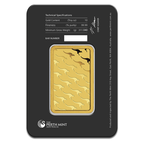 10oz Gold Bullion | Perth Mint Gold Bar with Certificate | 311gr(Back)
