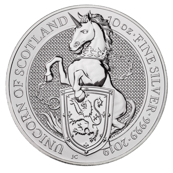 10 oz Queen's Beasts Unicorn Silver Coin (2019)(Front)