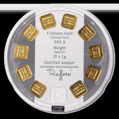 10 x 1g Gold Bullion | Heraeus MultiDisk Gold Bar(Back)