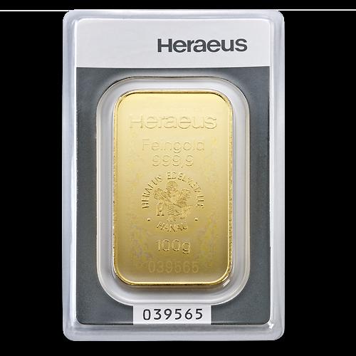 100g Gold Bullion | Heraeus Gold Bar | minted(Front)