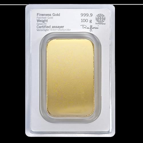 100g Gold Bullion | Heraeus Gold Bar | minted(Back)