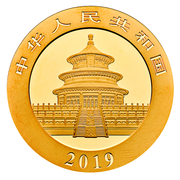 1g China Panda Gold Coin (2019)(Back)