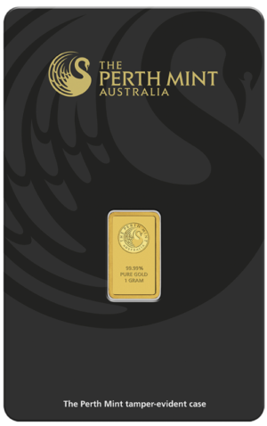 1g Gold Bullion | Perth Mint Gold Bar with Certificate | 1g(Front)