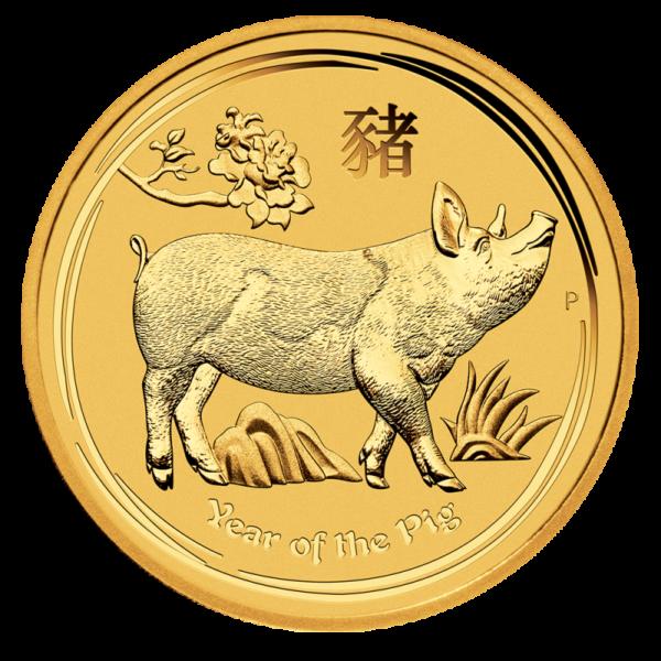 2 oz Lunar II Pig Gold Coin (2019)(Front)