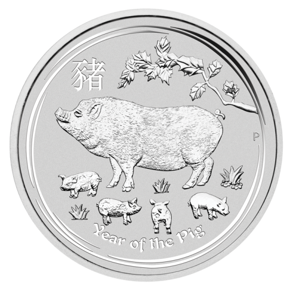 2 oz Lunar II Pig Silver Coin (2019)(Front)