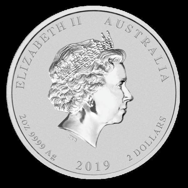 2 oz Lunar II Pig Silver Coin (2019)(Back)