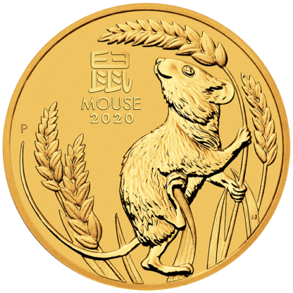 2 oz Lunar III Mouse Gold Coin (2020)(Front)