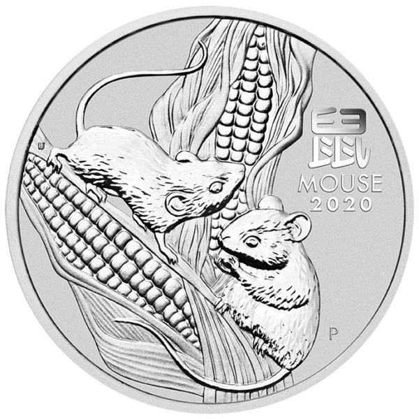 2 oz Lunar III Mouse Silver Coin (2020)(Front)