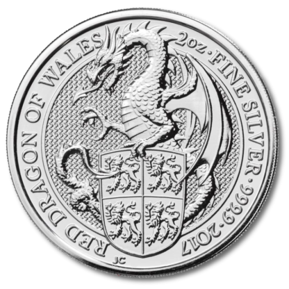 2 oz Queen's Beasts Dragon | Silver | 2017(Front)