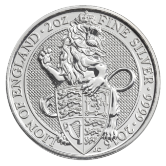2 oz Queen's Beasts Lion | Silver | 2016(Front)