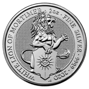 2 oz Queen's Beasts White Lion Silver Coin (2020)(Front)