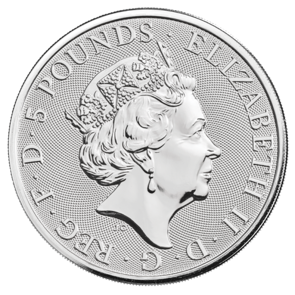 2 oz Queen's Beasts White Lion Silver Coin (2020)(Back)