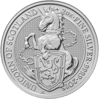 2 oz Queen's Beasts Unicorn | Silver | 2018(Front)