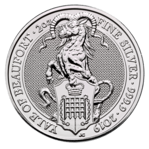 2 oz Queen's Beasts Yale of Beaufort Silver Coin (2019)(Front)