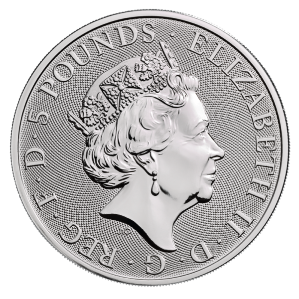2 oz Queen's Beasts Yale of Beaufort Silver Coin (2019)(Back)