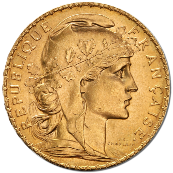 20 French Francs - Marianne, Rooster, Gold(Back)