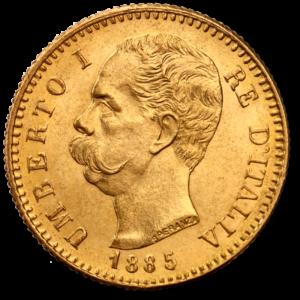 20 Italian Lira Umberto I | Gold | 1879-1897(Front)