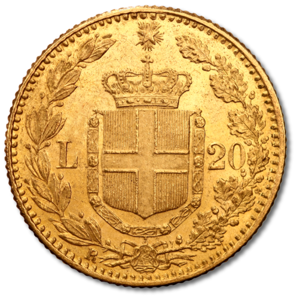 20 Italian Lira Umberto I | Gold | 1879-1897(Back)