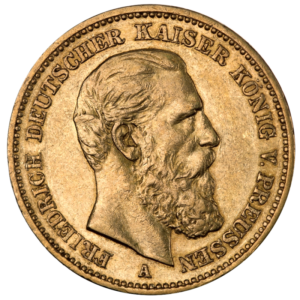 20 Mark Emperor Fried10rich III Prussia Gold Coin (1888)(Front)
