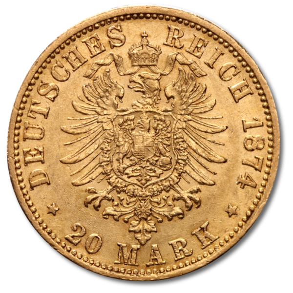 20 Mark Kaiser Wilhelm I., Prussia, Gold(Back)