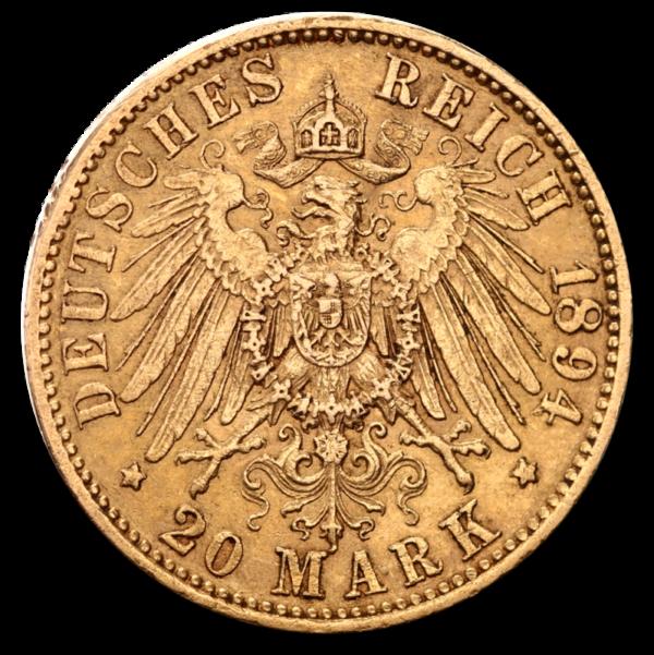20 Mark Kaiser Wilhelm II., Prussia, Gold(Back)