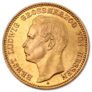 Grand Duke Ernst Ludwig, He1/ssia, 20 Mark, 7.16g Gold, 1890-1915(Front)