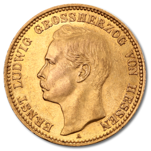 Grand Duke Ernst Ludwig, He1/ssia, 20 Mark, 7.16g Gold, 1890-1915(Front)