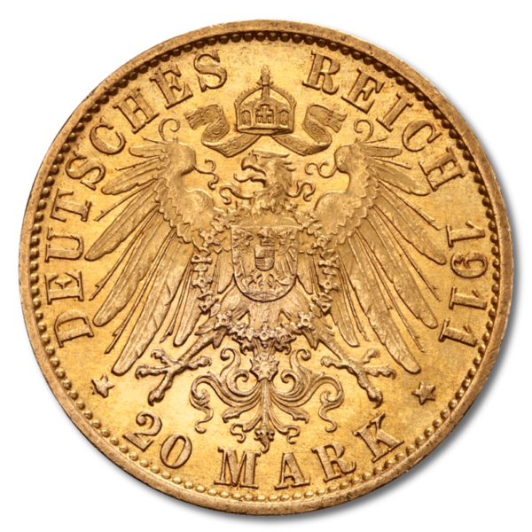 Grand Duke Ernst Ludwig, He1/ssia, 20 Mark, 7.16g Gold, 1890-1915(Back)