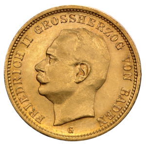 20 Mark | Grand Duke Friedrich II. Baden | Gold | 1907-1918(Front)
