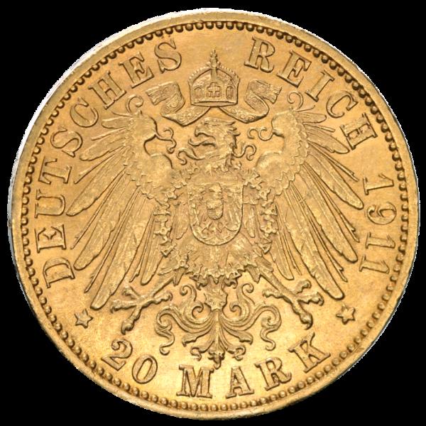 20 Mark | Grand Duke Friedrich II. Baden | Gold | 1907-1918(Back)