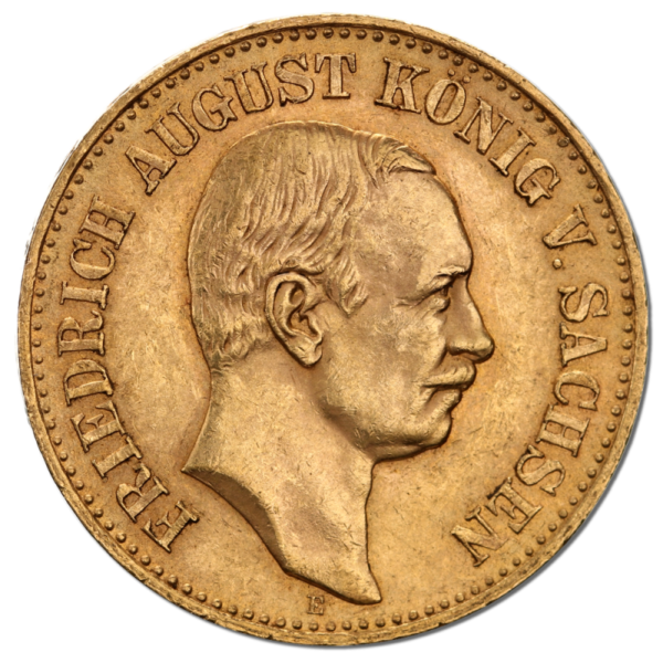 20 Mark | King Friedrich August III Saxony | Gold | 1904-1918(Front)