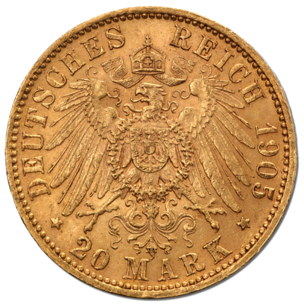 20 Mark | King Friedrich August III Saxony | Gold | 1904-1918(Back)