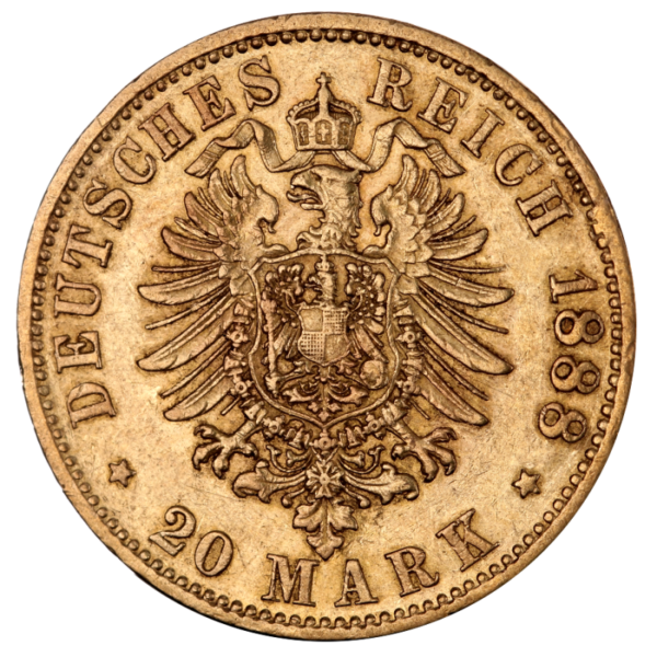 20 Mark | King Wilhelm II Wurttemberg | Gold | 1891-1918(Back)