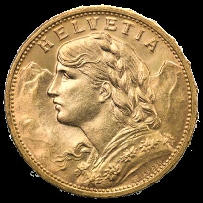 20 Swiss Francs, Vreneli, Gold(Front)