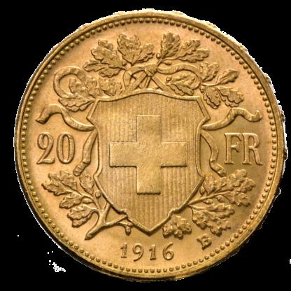 20 Swiss Francs, Vreneli, Gold(Back)