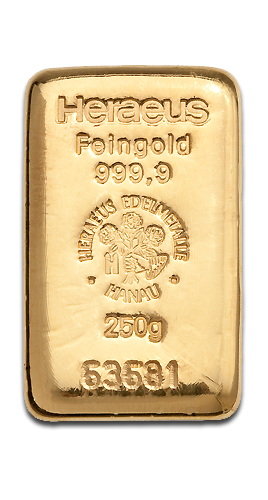 250g Gold Bullion | Heraeus Gold Bar(Front)