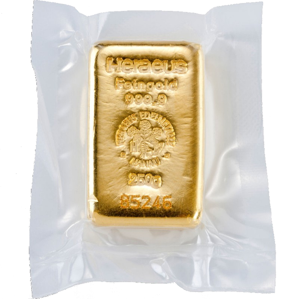 250g Gold Bullion | Heraeus Gold Bar(Back)