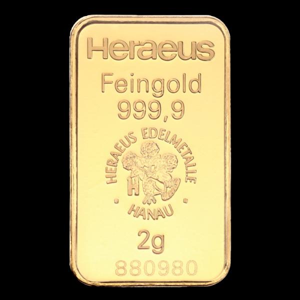 2g Gold Bullion | Heraeus Kinebar Gold Bar(Back)