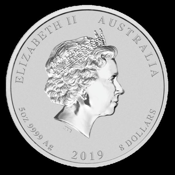 5 oz Lunar II Pig Silver Coin (2019)(Back)