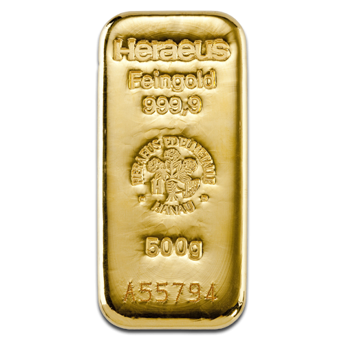 500g Gold Bullion | Heraeus Gold Bar(Front)