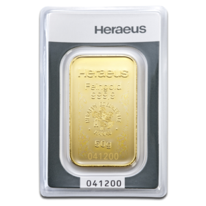 50g Gold Bullion | Heraeus Gold Bar(Front)