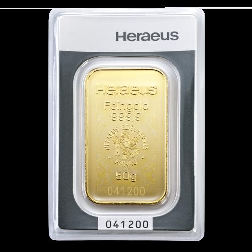 50g Gold Bullion | Heraeus Gold Bar(Front)