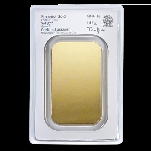 50g Gold Bullion | Heraeus Gold Bar(Back)
