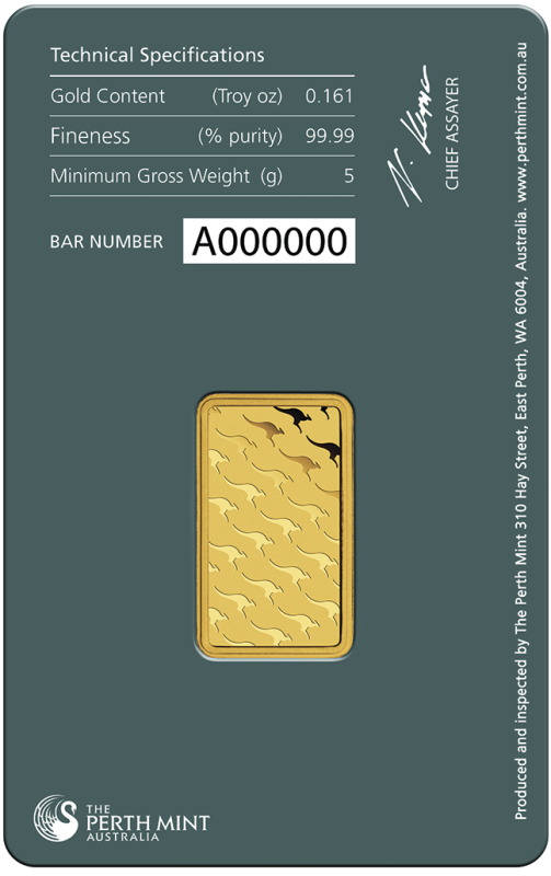 5g Gold Bullion | Perth Mint Gold Bar with Certificate(Back)
