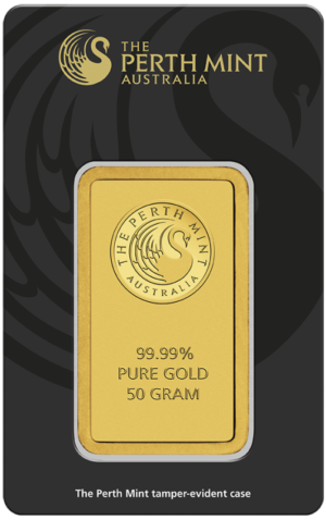 50g Gold Bullion | Perth Mint Gold Bar with Certificate(Front)