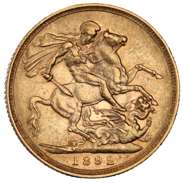 Full Sovereign Victoria, Gold, 1887-1893(Back)